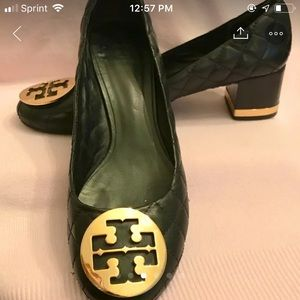 Tory Burch.  Black, leather quilted block heel 9M